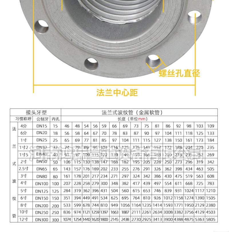 304不锈钢法兰波纹管耐高温高压金属软管蒸汽管软连接6寸4寸3寸